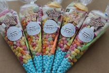40 x Pre filled Kids blue Christening Sweet party cone Bags free postage