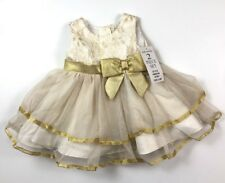 New Rare Editions 3-6 Months Gold Tulle Special Occasion Dress