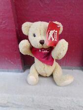 "Gund Teddy Bear Plush Brown Red 1995 Fossil Bandana Poseable 9""  (NBS3) w/tag"