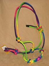 Braided Nylon Rope Halter RAINBOW COLORS Cowboy Horse Halter - New Horse Tack