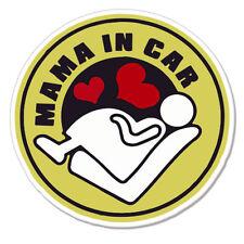 "Mama In Car Pregnant Woman on Board car bumper sticker decal 4"" x 4"""