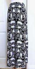 CHICO'S NWT 3. (XL) BLACK-WHITE  ELASTIC WAIST LEFT SIDE OPEN MAXI SKIRT $107