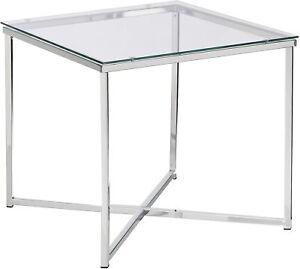 Glass Coffee Table Metal Square Furniture Modern Retro Room Sofa Side End Unit