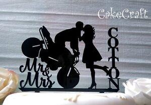 Acrylic Motorbike Mr and Mrs  Wedding, anniversary cake topper. cake decoration