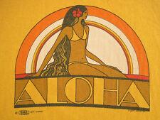 ORIGINAL!! 1974 vtg ALOHA HAWAII crazy shirts T SHIRT water print LARGE