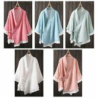 Women Linen Cotton Kimono Jacket Coat Double Layer Plain Chinese Ethnic Top Soft