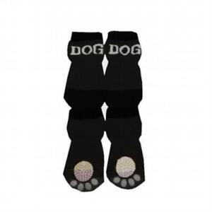 new Pet Life F22BKXSSM Black and White Dog Socks with Rubberized Soles SM small