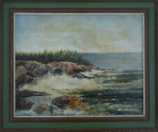 Signed P. Pauline Moll - Tougas Bar Harbor Maine Seacape Painting Oil on Board