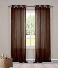 "Two (2) Sheer Grommet Window Curtain Panels: Chocolate Brown Metallic, 76"" x 84"""