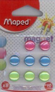 8 AIMANTS MAPED rond diamètre 10 mm couleurs assorties