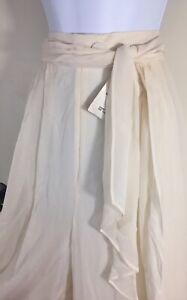 St. John Evening Marie Gray Italy Silk Ivory Wide Leg Palazzo Pants Size 14
