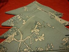 "Vintage Set (4) Pastel Blue Floral Table Napkins Cloth Kitchen Decor 16"" Sq. 229"