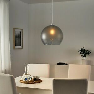 """IKEA JAKOBSBYN Pendant lamp shade, frosted glass/grey, 12"""""""