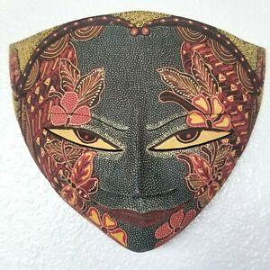 Batik Mask Butterfly Carved Wood Java Bali Indonesia 11 in Fair Trade US Seller