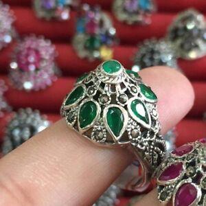 Thai Princess Ring Estate vintage Silver & Natural Emerald SIZE 7