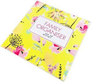 2021 Calendar Family Organiser Year Planner Gift Floral & Leaf Design (Yellow)