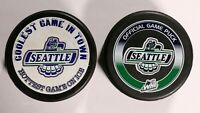 2 Vintage Seattle Thunderbirds Pucks WHL Western Hockey League Puck Lot