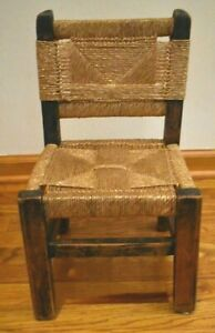 Antique Woven Bottom and Back Wood Frame Childs Chair or Salesman Sample