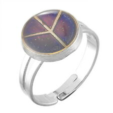 1PC Mood Ring Changing Color Peace Sign Adjustable Temperature Size 7