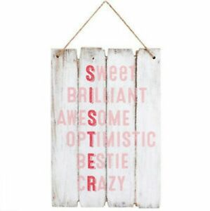 SISTER wooden effect SHABBY CHIC sign 30cm tall hanging plaque family