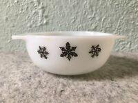 Vintage JAJ England Pyrex Milk Glass Black Snowflake Small Casserole Bowl Dish