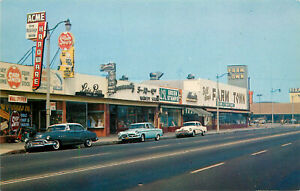 Chrome Postcard Lynwood CA Street Scene Atlantic and Imperial Green Stamps Store