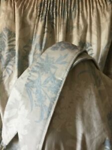 Laura Ashley curtains and tie backs stone beige and blue, 64 x 54 inches