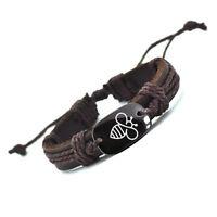 Love White Bee Vegan Leather Bracelet Tribal Adjustable Free Shipping