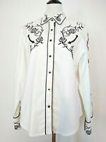 Scully Womens White Western Black Floral Embroidered Snap Button Top Size Large