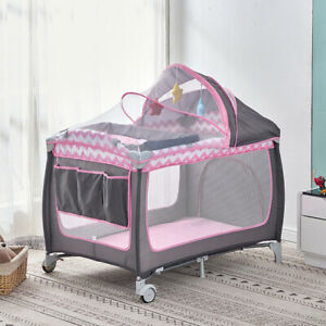 Portable Baby Travel Cot Crib Bassinet Bed Playpen Infants with Mattress Folding