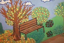 Vintage gouache painting expressionist landscape signed