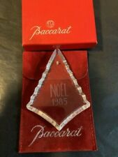 BACCARAT Crystal NOEL 1985 Ornament Etched Signed W/Original Box & Pouch **RARE*