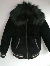 Matalan girls winter coat age 10 velvet with black fur trim