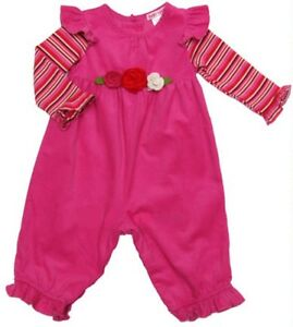 Precious Baby Nay Butterfly Sleeve Rose Motif Baby Girl Pink Cord Long Romper