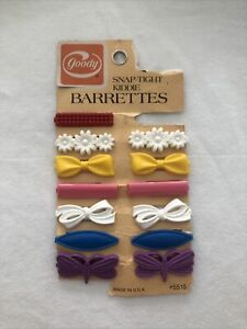 Vintage Goody Snap Tight Barrettes Clips Flowers Bows Plastic