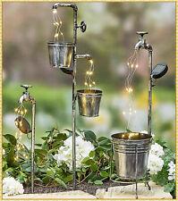 Solar Garden Yard Stake WATER FAUCET PLANTER Fairy Light Lawn Art Outdoor Decor