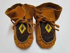 CHILDREN'S NATIVE AMERICAN MOCCASINS/SLIPPERS - BEADED/HIGH TOP DESIGN - 6 IN