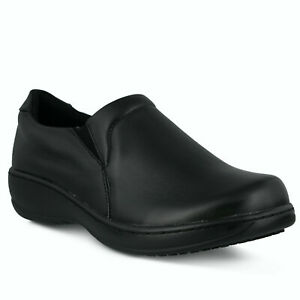 Spring Step Professionals-Woolin-B-W Black Leather Slip Resistant Slip-on 8.5W