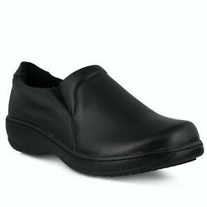 Spring Step Professionals-Woolin-B-W Black Leather Slip Resistant Slip-on 7W