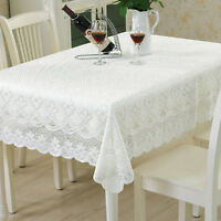 White Vintage Lace Floral Tablecloth Rectangle Table Cloth Cover Doily Wedding