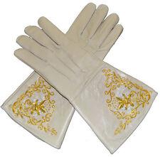 American Civil War Union Leather Braided Buff Tan Cream Gloves Gauntlets Medium