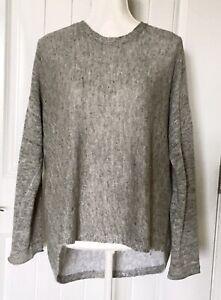 Eileen Fisher Wom Linen Organic Cotton Blend Hi Low Knit Sweater XS Gray