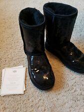 Ugg Australia Short Sequin Shearling Boots Sz 6 BLACK PERFECT CONDITION