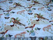 3 Yards Quilt Cotton Fabric - David Textiles Oak Avenue Bird Butterfly Music Pch