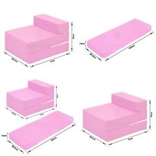 PINK Cotton Twill Z Bed Single Size Fold Out Chairbed Chair Foam Folding Sofa