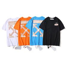 Off White Cotton Short Sleeves T-shirt Men Arrow Print Short Sleeve