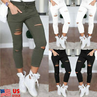 Plus Size Women Jeans Skinny Pencil Pants High Waist Stretch Trousers Jeggings
