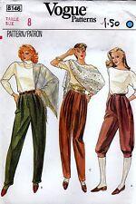 Vogue 8146 Vintage PANTS & CROPPED PANTS Sewing Pattern Size 8