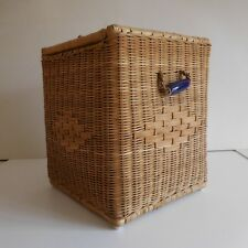 Coffre rangement osier art déco fait main handmade wicker storage chest France