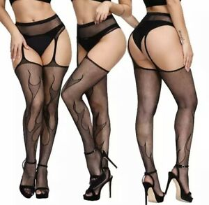 Sexual  Flame Print Fishnet Crotchless Stockings